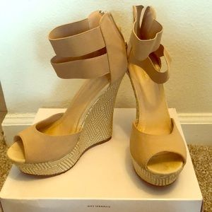 Cream and white wedges, size 8